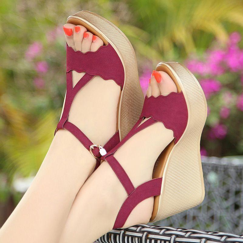 Womens Sandals 2017 Outdoor / Garden Leatherette Burgundy Green Summer Suede High Heels Thick Heels Slipper 8 cm / 3 inch Open / Peep Toe Classic