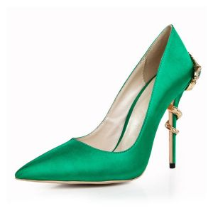 Chic / Beautiful Dark Green Evening Party Pumps 2020 Leather 9 cm Stiletto Heels Pointed Toe Pumps