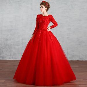 Chic / Belle Musulmane Rouge Robe De Mariée 2019 Robe Boule Encolure Dégagée En Dentelle Fleur Faux Diamant Paillettes Manches Longues Dos Nu Longue