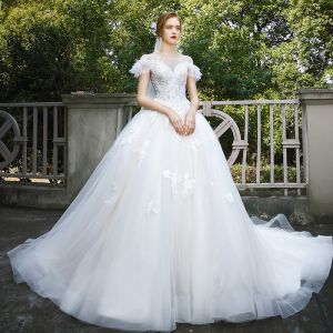 Elegant Ivory Wedding Dresses 2020 A-Line / Princess Scoop Neck Beading Lace Flower Short Sleeve Cathedral Train