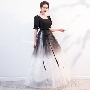 Affordable Black Gradient-Color White Evening Dresses  2020 A-Line / Princess Square Neckline Puffy Short Sleeve Sash Star Sequins Floor-Length / Long Ruffle Backless Formal Dresses