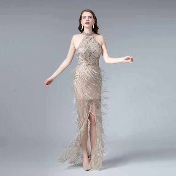 High-end Champagne Summer Evening Dresses  2019 Trumpet / Mermaid High Neck Sleeveless Sequins Beading Tassel Split Front Sweep Train Backless Formal Dresses