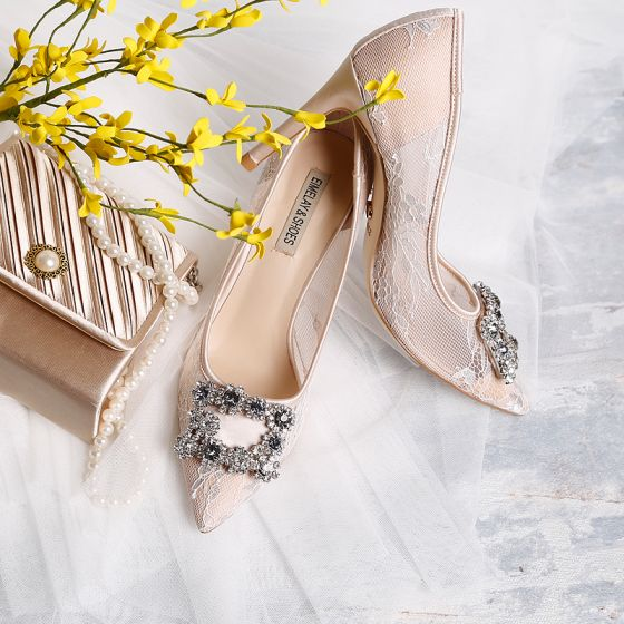 Chic / Belle Beige Chaussure De Mariée 2019 En Dentelle Faux Diamant 9 cm Talons Aiguilles À Bout Pointu Mariage Escarpins