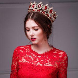 Gouden Retro Imitatie Rode Robijn Kroon / Plus Size Hoofdtooi