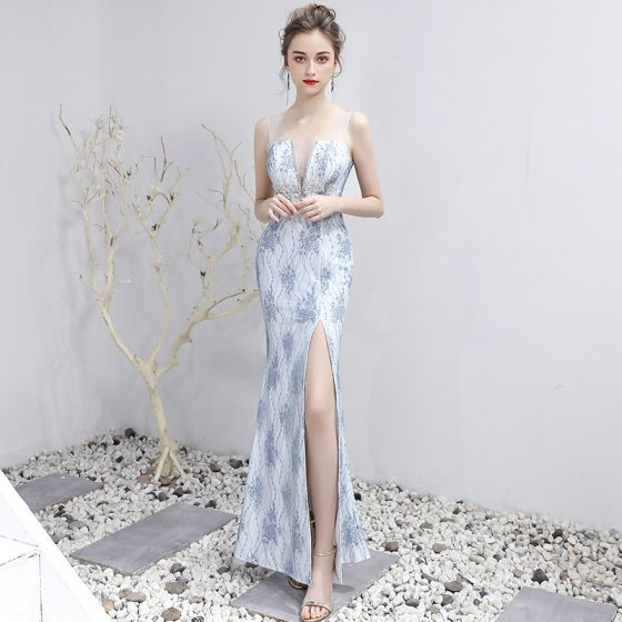 Charming Sexy Silver Split Front Evening Dresses  2020 Trumpet / Mermaid V-Neck Floor-Length / Long Appliques Backless Beading Embroidered Rhinestone Cocktail Party Evening Party Formal Dresses