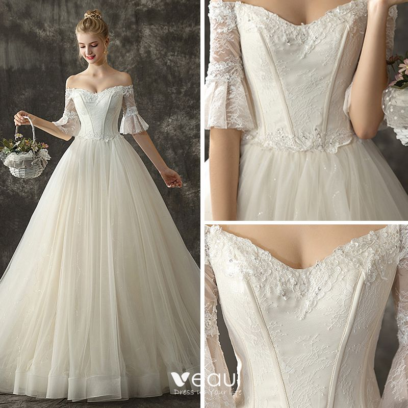 Elegant Champagne Wedding Dresses 2019 A-Line / Princess Off-The-Shoulder 1/2 Sleeves Backless Appliques Lace Glitter Tulle Chapel Train Ruffle