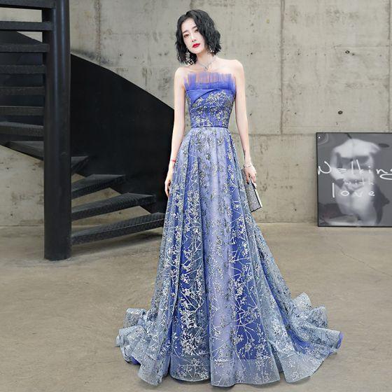 Sparkly Ocean Blue Evening Dresses  2020 A-Line / Princess Strapless Glitter Beading Sequins Sleeveless Backless Court Train Formal Dresses