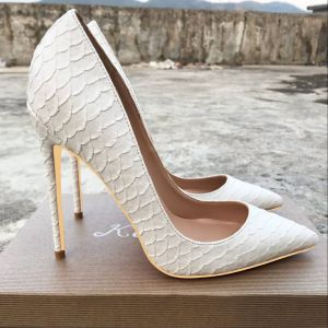 Chic / Beautiful White Casual Pumps 2019 Snakeskin Print 12 cm Stiletto Heels Pointed Toe Pumps