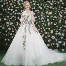 Amazing / Unique Hall Wedding Dresses 2017 Lace Flower Appliques Backless Scoop Neck 1/2 Sleeves Cathedral Train Ivory Ball Gown