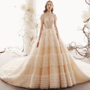 Vintage / Retro Champagne See-through Lace Wedding Dresses 2019 Princess High Neck Sleeveless Backless Beading Royal Train Ruffle