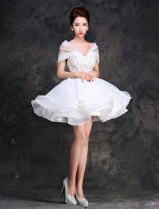 Charming Spitze Brautkleid 2016 Kurze Hochzeitskleid Weg Von Der Schulter
