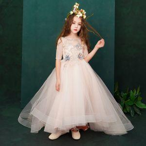Chic / Belle Perle Rose Robe Ceremonie Fille 2019 Princesse Encolure Dégagée 1/2 Manches Appliques En Dentelle Perlage Perle Train De Balayage Volants Robe Pour Mariage
