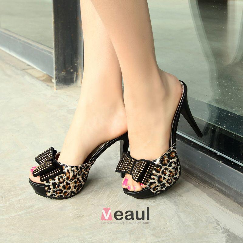 Sweet Leopard Print Rhinestone Bow Platform Stiletto Sandals