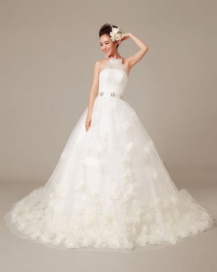 Solid Applique Beading Ruffles High Neck Organza Ball Gown Wedding Dress
