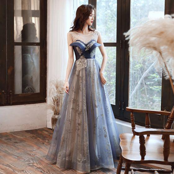 Fashion Ocean Blue Prom Dresses Evening Dresses  2021 A-Line / Princess Scoop Neck Beading Rhinestone Sequins Sleeveless Backless Floor-Length / Long Evening Party Formal Dresses
