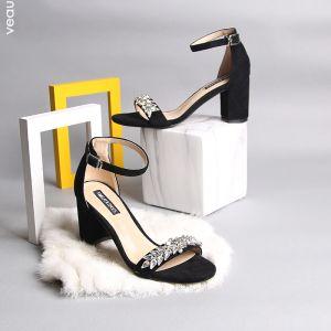 Mode 7 cm Sorte Sandaler Dame 2019 Ferie Strand Læder Beading Sommer Krystal Rhinestone Højhælede Tykke Hæle Damesko