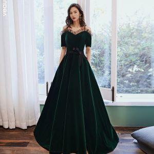 Elegant Dark Green Velour Winter Evening Dresses  2020 A-Line / Princess Off-The-Shoulder Spaghetti Straps Short Sleeve Sash Floor-Length / Long Ruffle Backless Formal Dresses