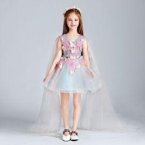 Moderne / Mode Bleu Ciel Rose Bonbon Robe Ceremonie Fille 2017 Robe Boule V-Cou Sans Manches Appliques Papillon Paillettes Courte Volants Robe Pour Mariage