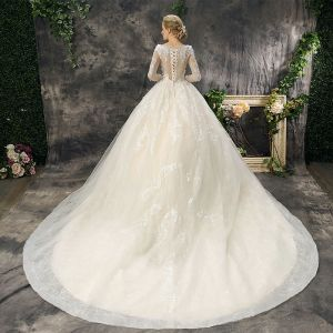 Romantic Chic / Beautiful Church Wedding Dresses 2017 Lace Appliques Pearl Sequins Backless Long Sleeve Scoop Neck Cathedral Train Champagne Ball Gown