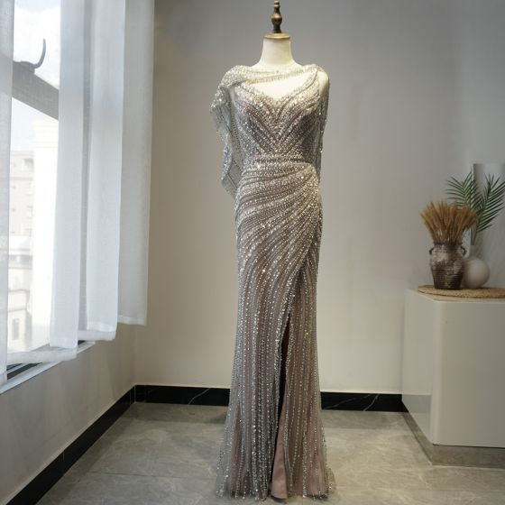 High-end Grey Red Carpet Evening Dresses  With Shawl 2020 Trumpet / Mermaid V-Neck Sleeveless Beading Rhinestone Sweep Train Backless Formal Dresses