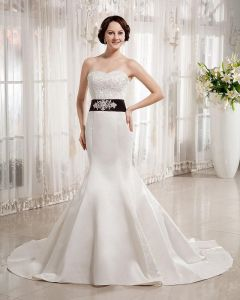 Satin Sweetheart Beading Floor Length Mermaid Wedding Dress