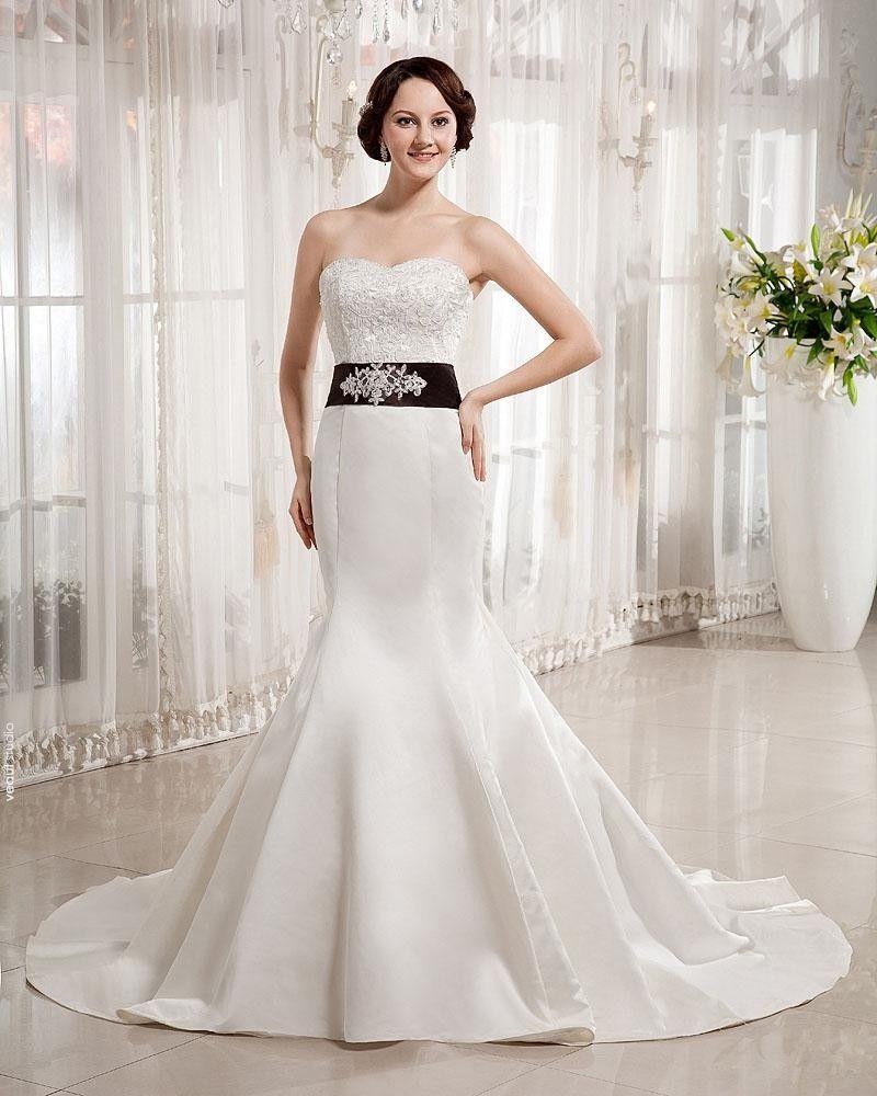 Satin Sweetheart Beading Floor Length Mermaid Wedding Dress
