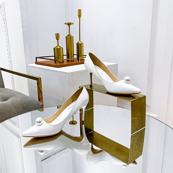 Elegantes Marfil Seda Satén Perla Zapatos de novia 2021 8 cm Stilettos / Tacones De Aguja Punta Estrecha Boda Tacones High Heels
