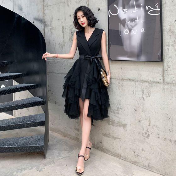 Chic / Beautiful Black Cocktail Dresses 2020 A-Line / Princess V-Neck Sleeveless Sash Asymmetrical Cascading Ruffles Formal Dresses