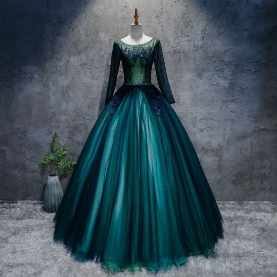 Classic Dark Green Prom Dresses 2017 Ball Gown Lace Flower Crystal