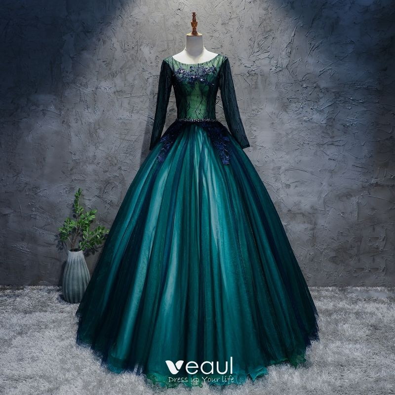 9be37157992d classic-dark-green-prom-dresses-2017-ball-gown-lace-flower -crystal-scoop-neck-long-sleeve-floor-length-long-formal-dresses-800x800.jpg