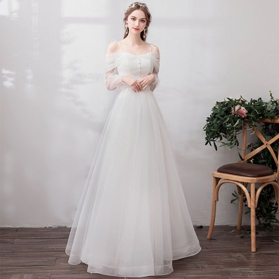 Classic Elegant White Evening Dresses  2019 A-Line / Princess Lace Tulle V-Neck Backless Embroidered Beach Church Formal Dresses