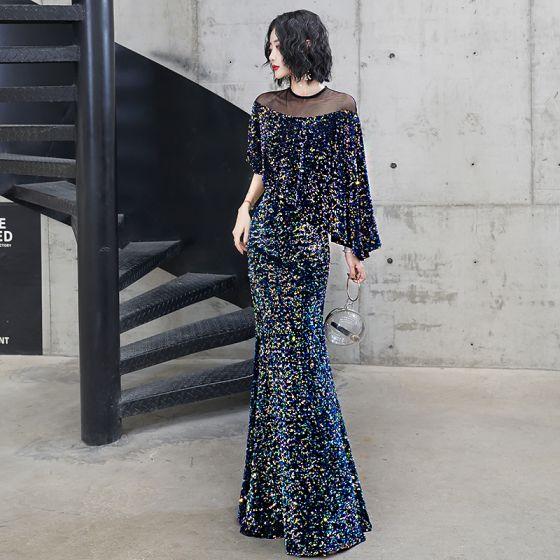 Błyszczące Multi-Kolory Sukienki Wieczorowe 2020 Syrena / Rozkloszowane Cekiny Wycięciem 3/4 Rękawy Długie Sukienki Wizytowe