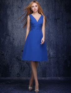 A-ligne Col V Profond Volants Robe De Demoiselles D'honneur Bleu Royal