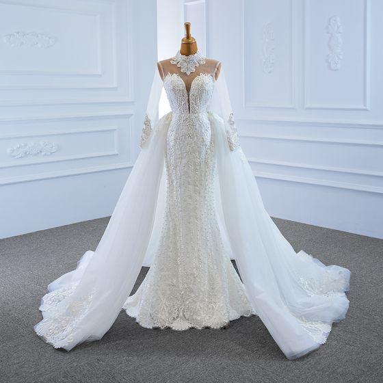 Luxury / Gorgeous White See-through Bridal Wedding Dresses 2020 Trumpet / Mermaid High Neck Long Sleeve Appliques Lace Handmade  Beading Detachable Chapel Train Ruffle