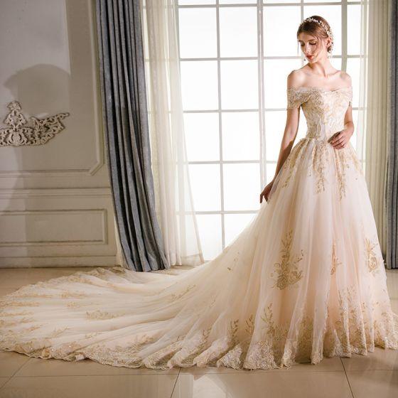 Elegant Champagne Wedding Dresses 2018 A-Line / Princess Lace Embroidered Beading Off-The-Shoulder Backless Short Sleeve Royal Train Wedding