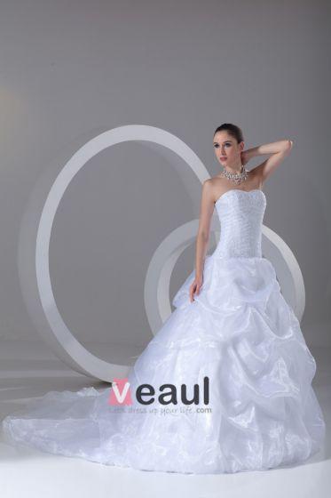 Organza Beading Krusning Kjaereste Domstol Tog Ball Kjole Brudekjoler Bryllupskjoler