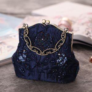 Vintage / Originale Bleu Marine Paillettes Perlage Perle Brodé Pochette 2019