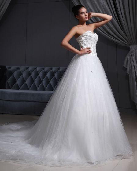 Ruffle Beaded Organza Sweetheart Chapel A-line Bridal Gown Wedding Dress