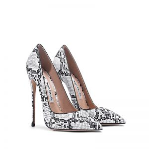 Fashion White Evening Party Snakeskin Print Pumps 2020 10 cm Stiletto Heels Pointed Toe Pumps
