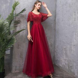 Charming Burgundy Evening Dresses  2019 A-Line / Princess Scoop Neck Sequins Short Sleeve Backless Floor-Length / Long Formal Dresses