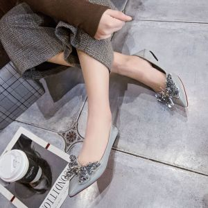 Chic / Beautiful Grey Womens Shoes 2018 Office Crystal Butterfly Leather Pointed Toe Flat