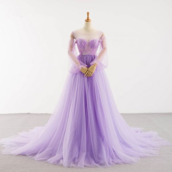 Charming Lilac See-through Red Carpet Evening Dresses  2020 A-Line / Princess Scoop Neck Puffy Long Sleeve Backless Bow Beading Court Train Ruffle Formal Dresses