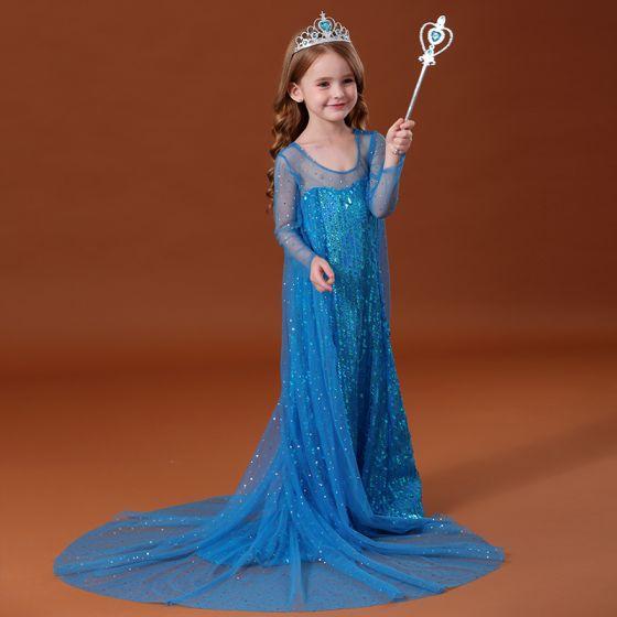 Frozen Film Kostüm Märchen Blau Durchsichtige Blumenmädchenkleider 2020 Prinzessin Rundhalsausschnitt Lange Ärmel Rückenfreies Pailletten Watteau-falte Rüschen