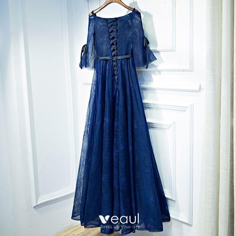Elegant Navy Blue Evening Dresses  2017 Lace Flower Sequins Scoop Neck 3/4 Sleeve Ankle Length Empire Formal Dresses