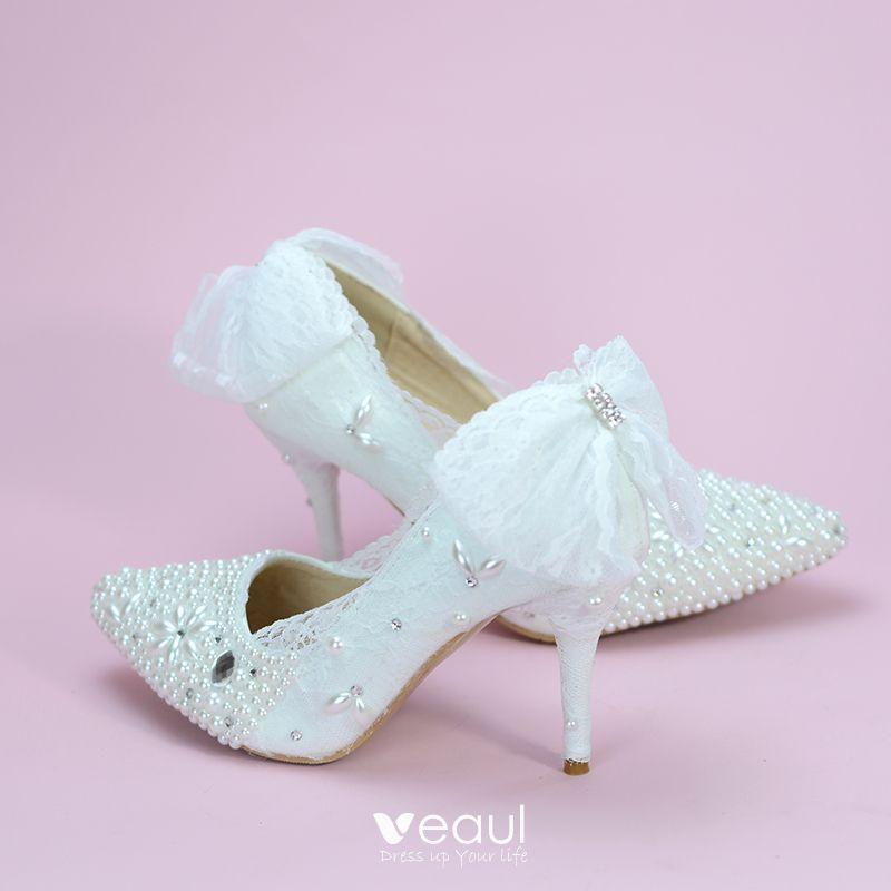 fce39021ae2 Elegant Ivory Wedding Shoes 2019 Bow Rhinestone Pearl 8 cm Stiletto ...