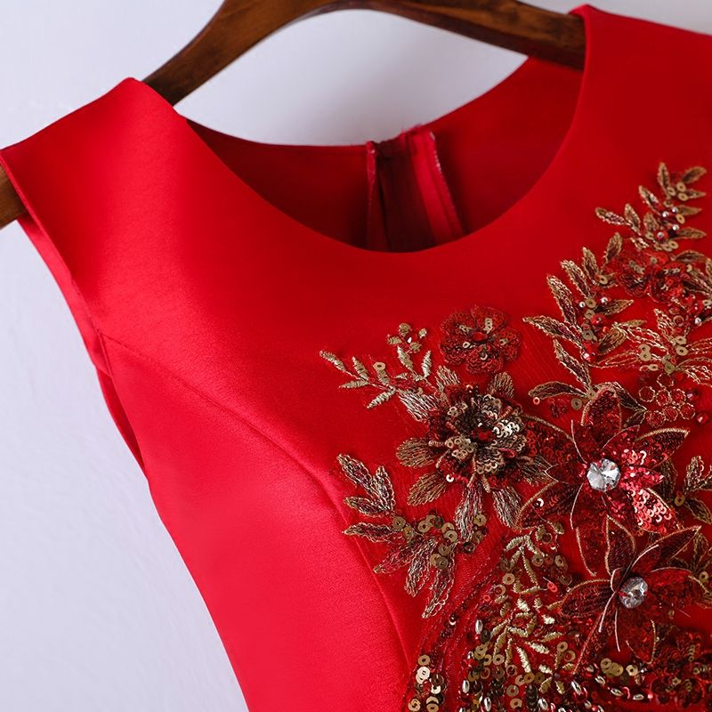Chic / Beautiful Red Formal Dresses Evening Dresses  2017 Lace Flower Sequins Pearl Rhinestone Short Scoop Neck Sleeveless A-Line / Princess