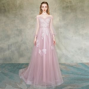 Elegant Blushing Pink Evening Dresses  2019 A-Line / Princess Off-The-Shoulder See-through Puffy Long Sleeve Appliques Lace Flower Beading Sweep Train Ruffle Backless Formal Dresses