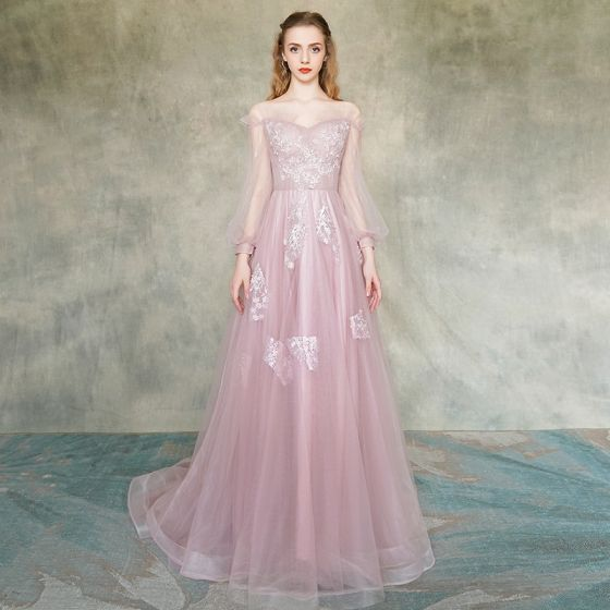 ae82b2b697eb1 Elegant Blushing Pink Evening Dresses 2019 A-Line / Princess  Off-The-Shoulder See-through Puffy Long Sleeve Appliques ...
