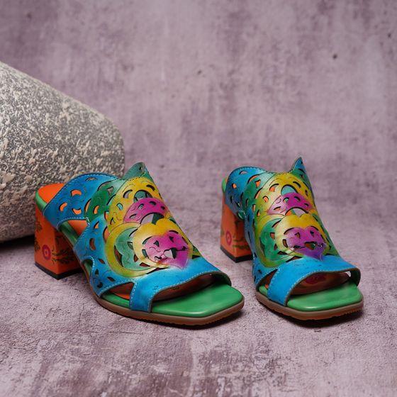 Traditionnel Bleu Vêtement de rue Sandales Femme 2020 Cuir 5 cm Talons Aiguilles Peep Toes / Bout Ouvert Sandales