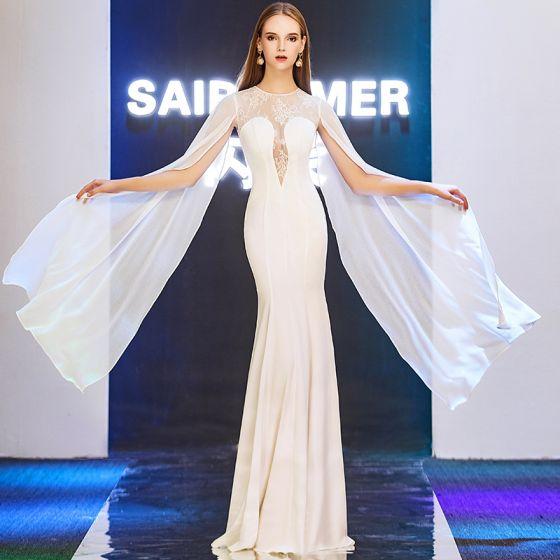 Modern / Fashion Ivory See-through Evening Dresses  2019 Trumpet / Mermaid Scoop Neck Long Sleeve Floor-Length / Long Ruffle Backless Formal Dresses